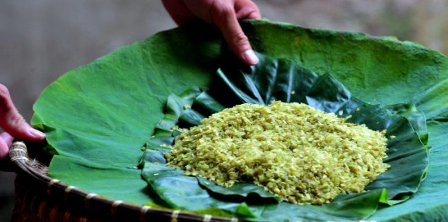 green sticky rice in vong village